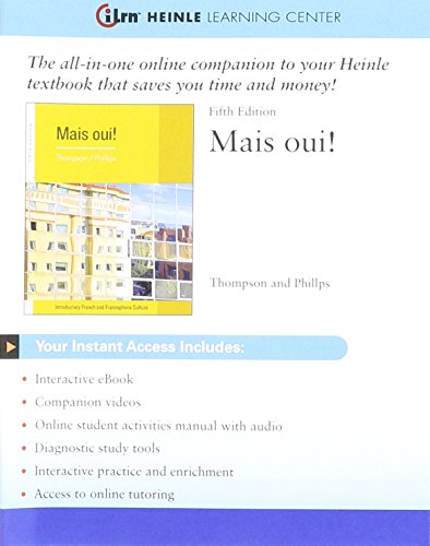9781111945466: iLrn™ Heinle Learning Center, 3 terms (18 months) Printed Access Card for Thompson/Phillips' Mais Oui!, 5th