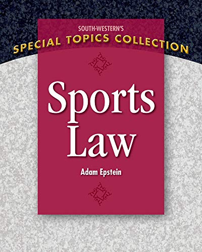 Sports Law 9781111971663 Sports Law by Adam Epstein brings the multi-billion dollar business of sport to the classroom. Epstein's book delves into the world of interscholastic, intercollegiate and professional athletics by exploring various categories of law and its relationship to sport. In addition to providing an examination of the history of the NCAA, this textbook examines relevant NCAA cases along with excerpts from the most recent NCAA bylaws in chapters throughout the book. This aspect of the text is particularly helpful for those who have an interest in pursuing a career in college sports. The book begins with an examination of the most current cases and regulations governing sports agents and how such individuals have helped to shape the sport business. The author also provides the best discussion on the importance and role of contracts in the sports industry with an exploration of various sports contracts and special contract clauses. Along with the aforementioned topics, Sports Law dives into other important legal topics in the sports industry including torts, crimes, Title IX and gender issues, social media concerns, disability issues, antitrust and labor issues involving leagues and their player associations, an examination of international issues including the Olympic Movement and more. Epstein provides abridged cases involving Andy Oliver, Jeremy Bloom, Coach Jim O'Brien and others. Sports Law brings the dynamic and exciting world of sports law to the undergraduate and graduate student.