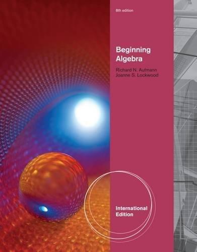 9781111989453: Beginning Algebra, International Edition