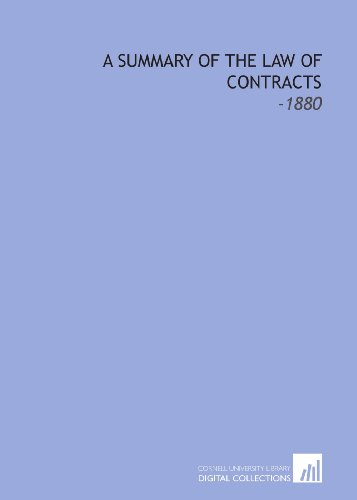 9781112274756: A Summary of the Law of Contracts: -1880