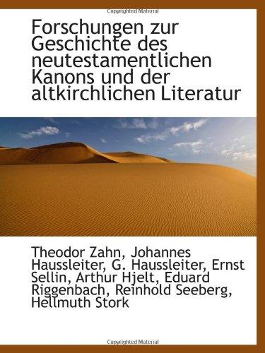 9781113007285: Forschungen zur Geschichte des neutestamentlichen Kanons und der altkirchlichen Literatur