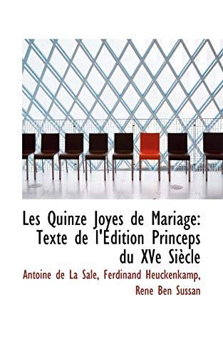 9781113095886: Les Quinze Joyes de Mariage: Texte de l'Édition Princeps du XVe Siècle