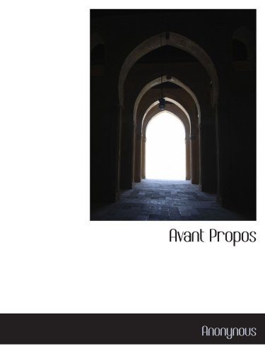 9781116559026: Avant Propos (French Edition)