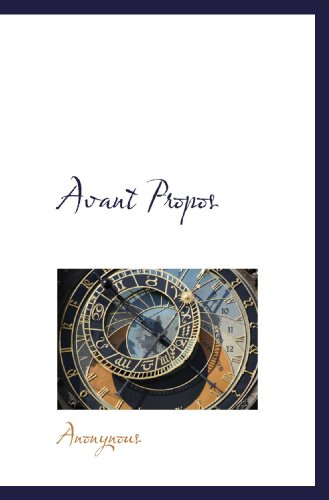 9781116559033: Avant Propos (French Edition)