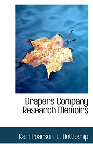 9781117738185: Drapers Company Research Memoirs