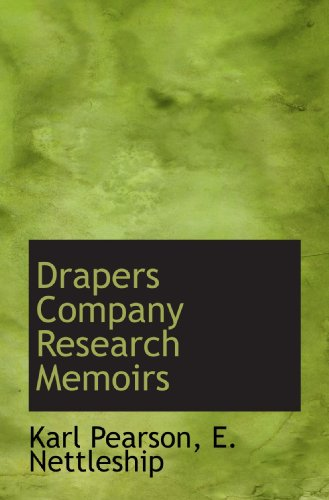 9781117738192: Drapers Company Research Memoirs
