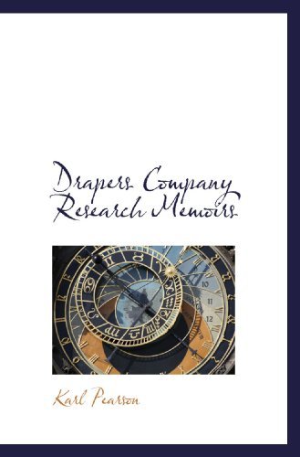 9781117791395: Drapers Company Research Memoirs