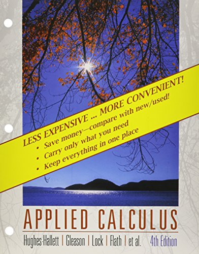 Applied calculus 4th edition solutions hughes-hallett.