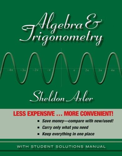 9781118088401: Algebra and Trigonometry 1e Binder Ready Version + WileyPLUS Registration Card