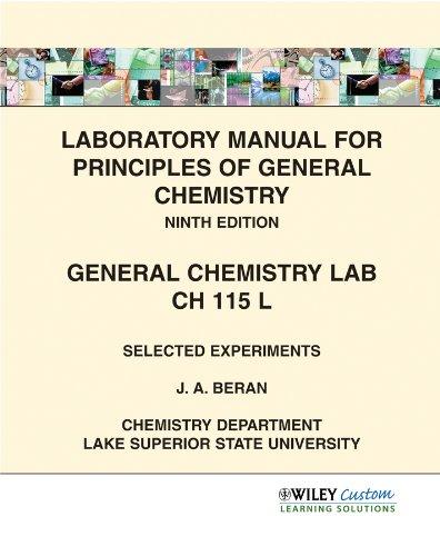 9780470647899 laboratory manual for principles of general chemistry rh abebooks com General Chemistry Lab Experiments General Chemistry Lab Experiments Answers