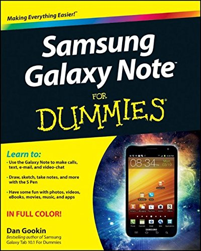 Samsung Galaxy Note For Dummies. 9781118388464 Use this friendly, full-color guide to make the most of the extraordinary Samsung Galaxy Note device! The Samsung Galaxy Note is the first mobile device that successfully bridges the gap between a modern smartphone and a tablet. Nicknamed  phablet , it has an array of features that could intimidate you without the help of this plain-English guide! Dan Gookin shows you how to set up and configure the Galaxy Note and use the revolutionary  S  software that allows you to draw directly on the screen with the special stylus, or  S Pen . You'll also learn to use both phone and tablet features, get online and use the web, text, make calls, shoot photos, get GPS directions, and all the rest, easily! The Galaxy Note is a revolutionary concept that combines smartphone and tablet technology; this guide demystifies the complex technology so you can take advantage of every feature Shows how to set up and configure the device, work with the interface, and use the unique  S  software to write or draw directly on the touchscreen Covers all the phone features, including voicemail and texting, as well as basic tablet features such as web browsing, e-mail, and social media Explores how to use the camera, make notes, get directions, play music, synchronize and share content, use apps, and more Written by immensely popular author Dan Gookin, known for both technical expertise and his friendly, easily understood style Samsung Galaxy Note For Dummies is just what you need to help you get up and running with your fabulous new  phablet .