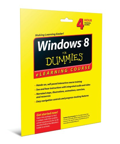 9781118468470: Windows 8 For Dummies eLearning Course Access Code Card (6 Month Subscription)