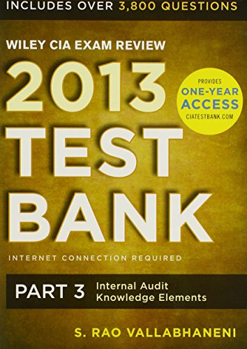 9781118551059: Wiley CIA Exam Review 2013 Online Test Bank 1-Year Access: Part 3, Internal Audit Knowledge Elements