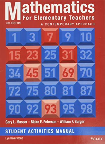 9781118679043: Mathematics for Elementary Teachers: A Contemporary Approach 10e Student Activity Manual