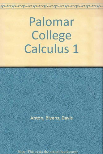 Palomar College Calculus 1: Anton, Bivens, Davis
