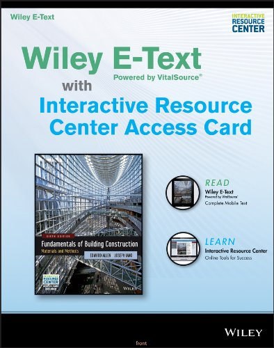 9781118821107: Fundamentals of Building Construction, Sixth Edition: Wiley E-Text Card and Interactive Resource Center Access Card