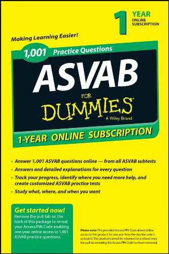 9781118843840: 1,001 ASVAB Practice Questions For Dummies Access Code Card (1-Year Online Subscription)