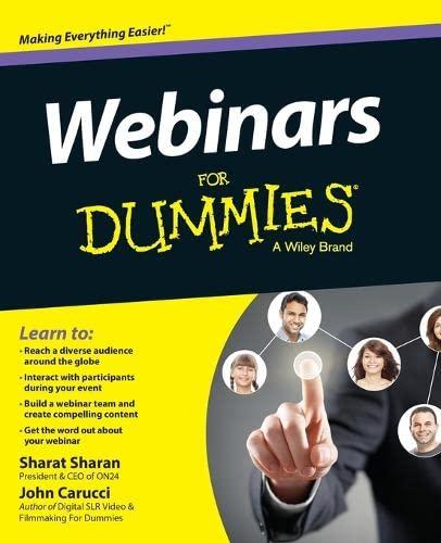 Webinars For Dummies (For Dummies (Computers)): Sharan, Sharat; Carucci, John