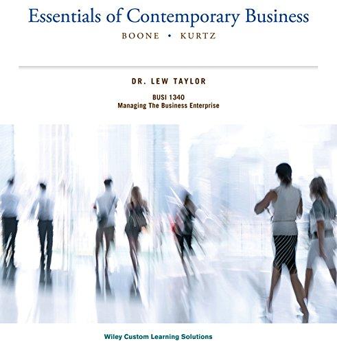 Essentials of Contemporary Business (BOONE . KURTZ): BOONE & KURTZ