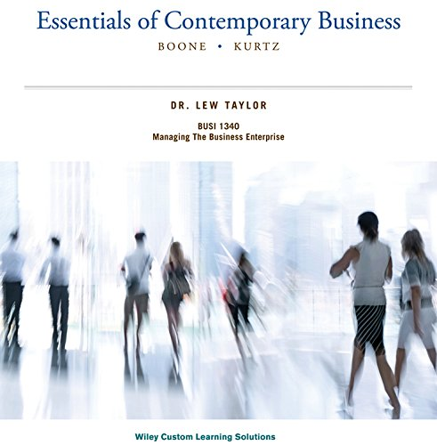 9781118933893: Essentials of Contemporary Business (BOONE . KURTZ)