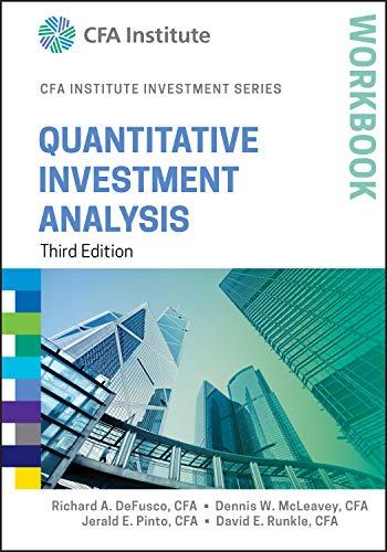 9781119104544: Quantitative Investment Analysis Workbook (CFA Institute Investment Series)