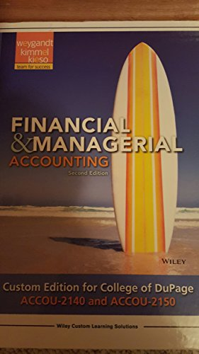 9781119169208: Financial & Managerial Accounting, Custom for COD ACCou 2140 and 2150