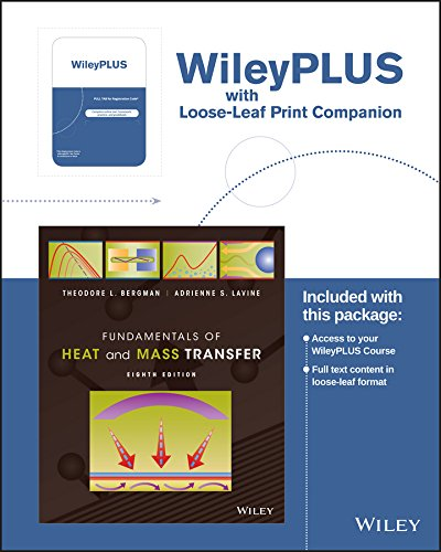 Fundamentals of Heat and Mass Transfer, 8th Edition WileyPLUS Registration Card + Loose-leaf Print ...