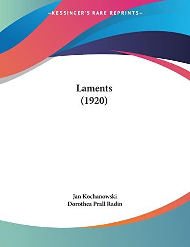 9781120310408: Laments (1920)