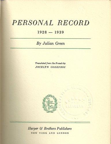 9781122709941: Personal record, 1928-1939,