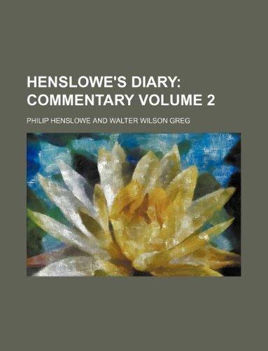 Henslowe's Diary Volume 2 (1130135225) by Philip Henslowe