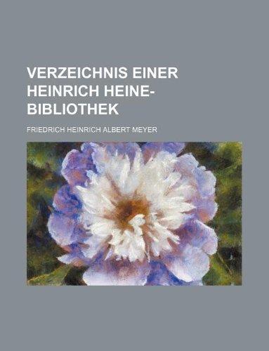 9781130441758: Verzeichnis einer Heinrich Heine-bibliothek