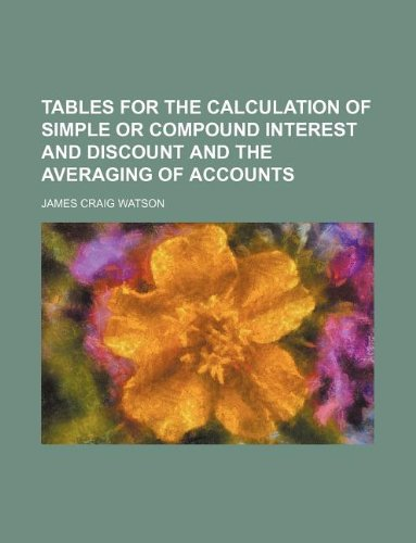 9781130477191: Tables for the calculation of simple or compound interest and discount and the averaging of accounts