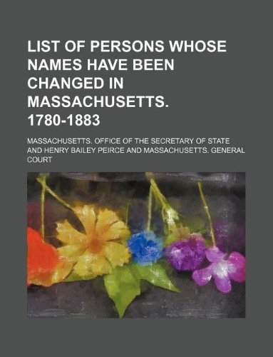 List of persons whose names have been: Massachusetts. Office of