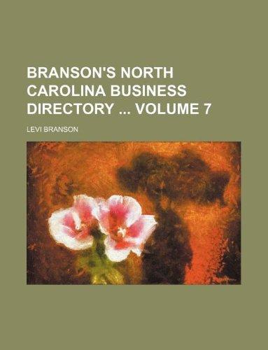 9781130914528: Branson's North Carolina business directory Volume 7