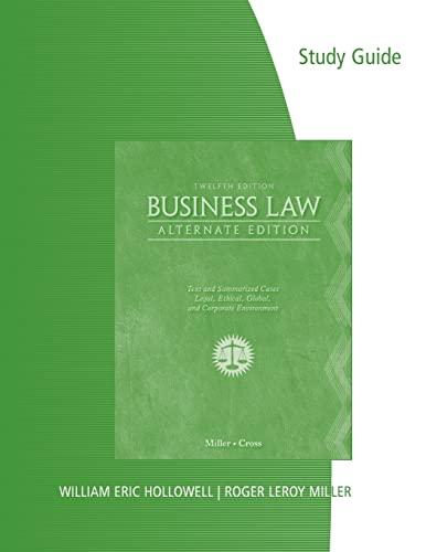 Study Guide for Miller/Cross' Business Law, Alternate: Miller, Roger LeRoy;