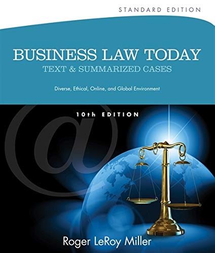 9781133273561: Business Law Today, Standard: Text and Summarized Cases (Miller Business Law Today Family)