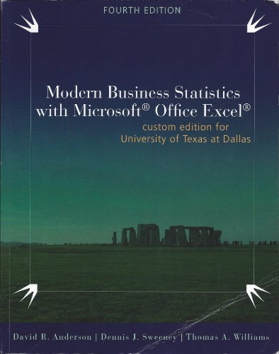 Modern Business Statistics - Custom Edition for UTD - With Access Code