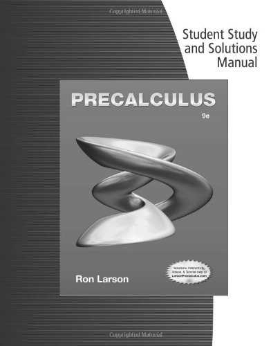 Student Solutions Manual for Larson's Precalculus, 9th: Larson, Ron