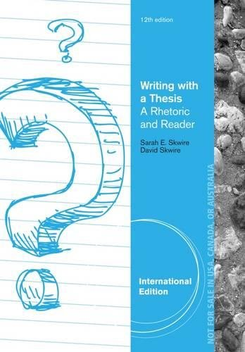 9781133950875 Writing With A Thesis International Edition