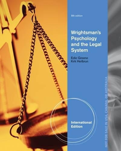 9781133956556: Wrightsman's Psychology and the Legal System, International Edition