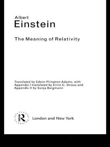 9781138171190: The Meaning of Relativity (Routledge Classics)