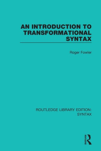 9781138207660: An Introduction to Transformational Syntax