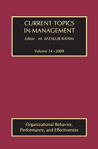 9781138508927: Current Topics in Management: Volume 14, Organizational Behavior, Performance, and Effectiveness