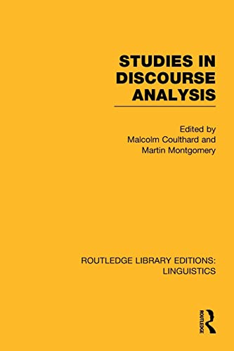 9781138983182: Studies in Discourse Analysis (RLE Linguistics B: Grammar) (Routledge Library Editions: Linguistics)