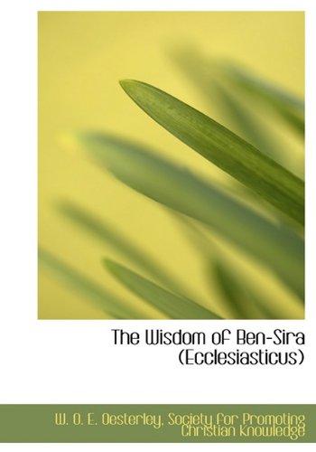 9781140659532: The Wisdom of Ben-Sira (Ecclesiasticus)