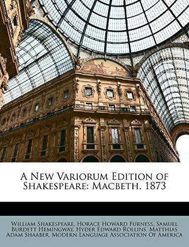 9781147432596: A New Variorum Edition of Shakespeare: Macbeth. 1873