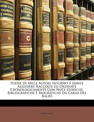 9781148457376: Poesie Di Mille Autori Intorno a Dante Alighieri
