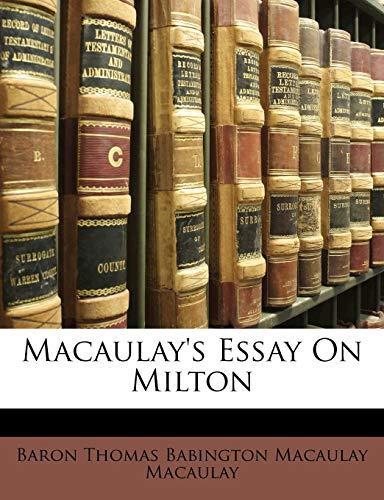 9781148800189: Macaulay's Essay On Milton