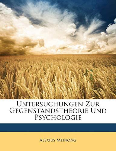 9781149085462: Untersuchungen Zur Gegenstandstheorie Und Psychologie (German Edition)
