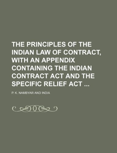 The Principles of the Indian Law of